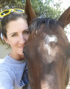 Joanna with Charger, an ex-racehorse she helped rescue and retire.